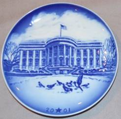 A blue and white plate  Description automatically generated